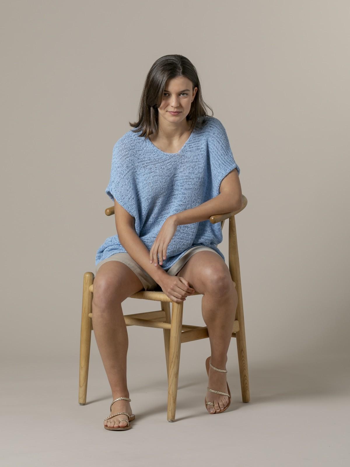 Woman Woman Plain ribbon knit vest Blue