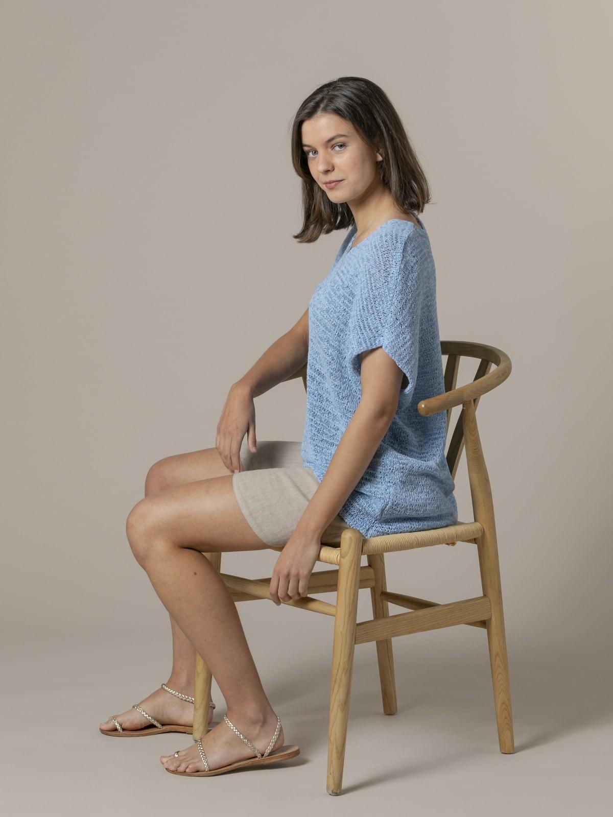 Chaleco mujer liso punto cinta Azul