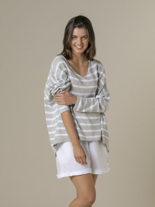 Woman Woman Striped cotton sweater Grey