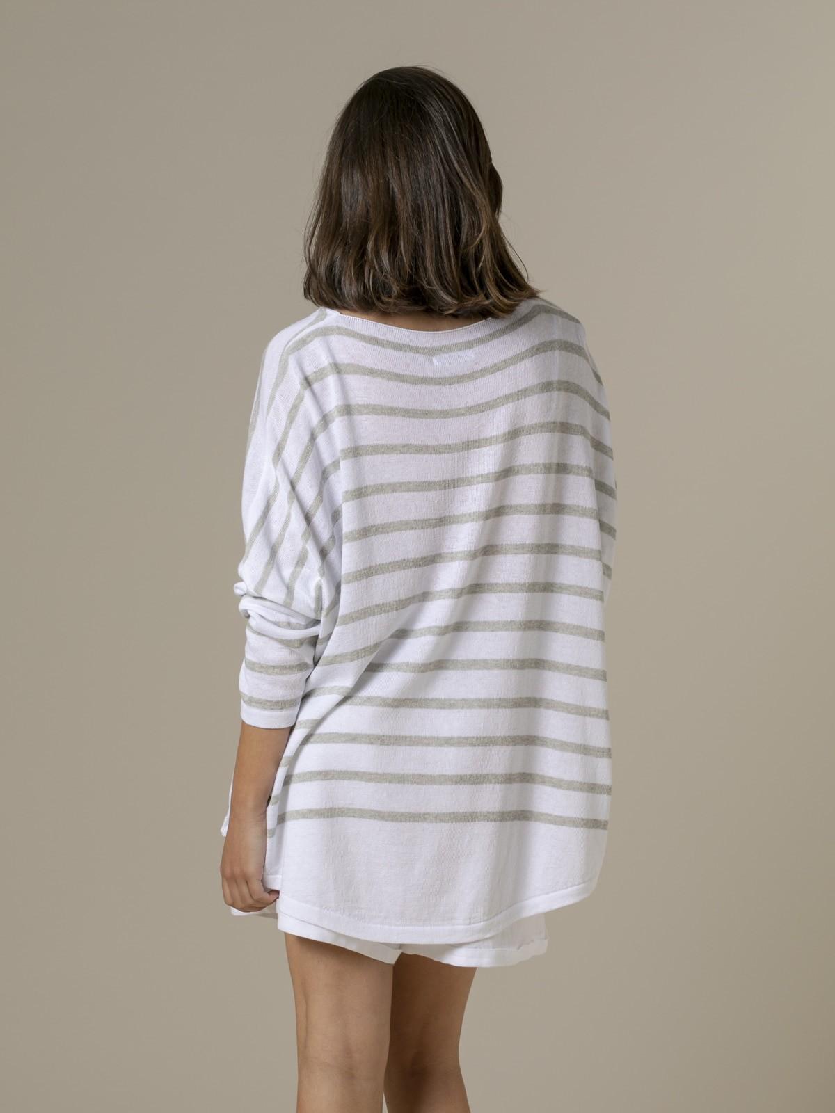 Woman Woman Striped cotton sweater Crudo