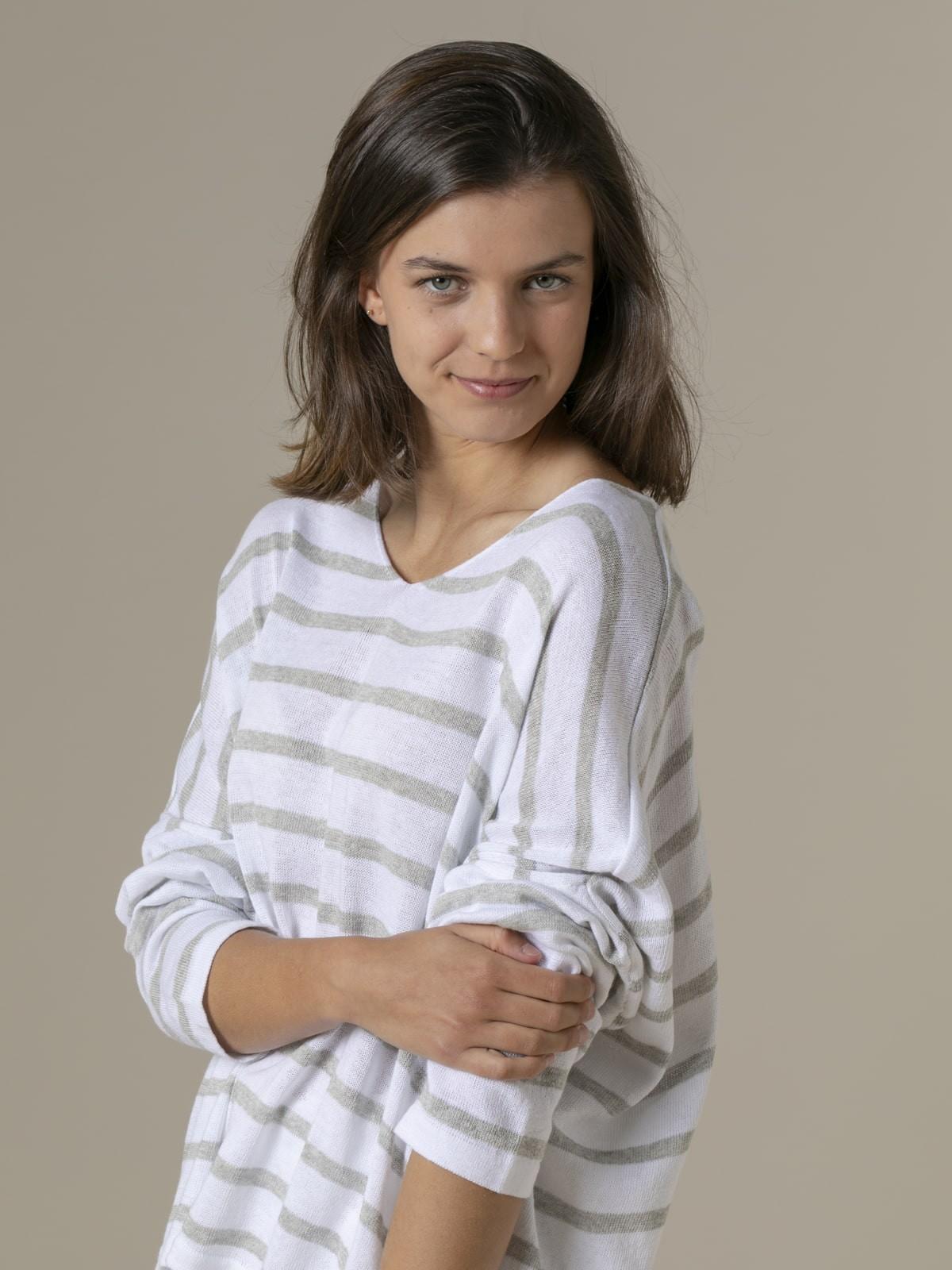 Jersey rayas mujer algodón Crudo