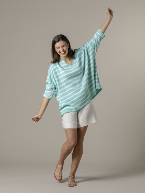 Woman Woman Oversized cotton striped sweater Aqua