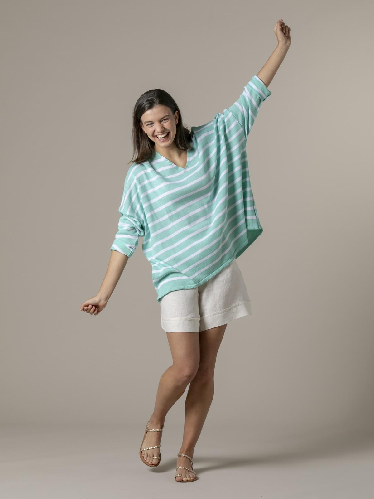 Jersey mujer de rayas algodón oversize Aqua