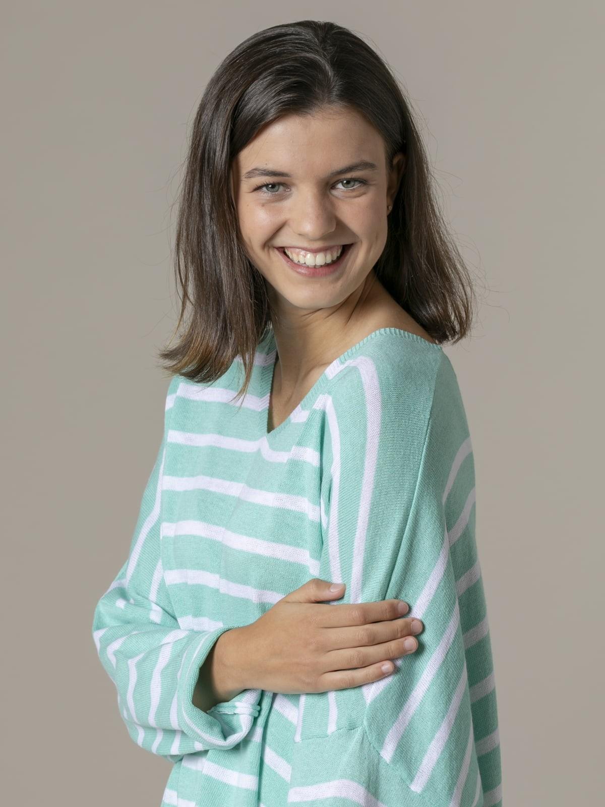 Woman Woman Oversized cotton striped sweater Aqua