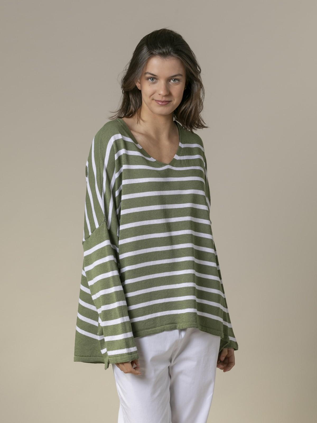 Jersey mujer de rayas algodón oversize Caqui