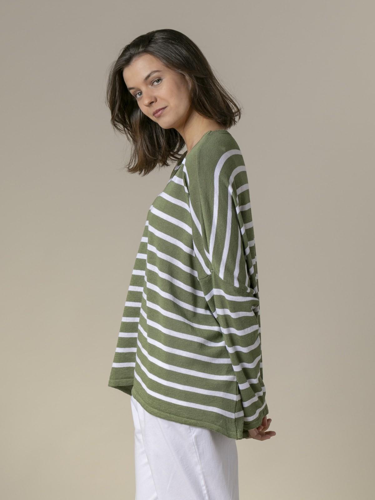 Woman Woman Oversized cotton striped sweater Khaki