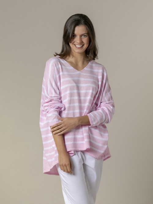 Woman Woman Oversized cotton striped sweater Pink