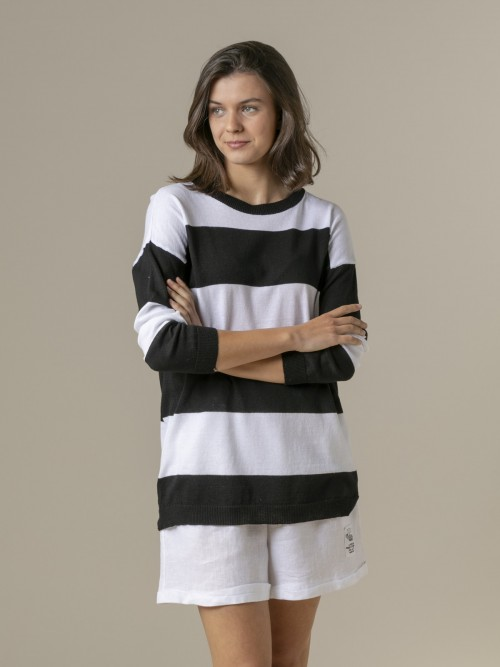 Woman Woman Long wide stripe sweater Black
