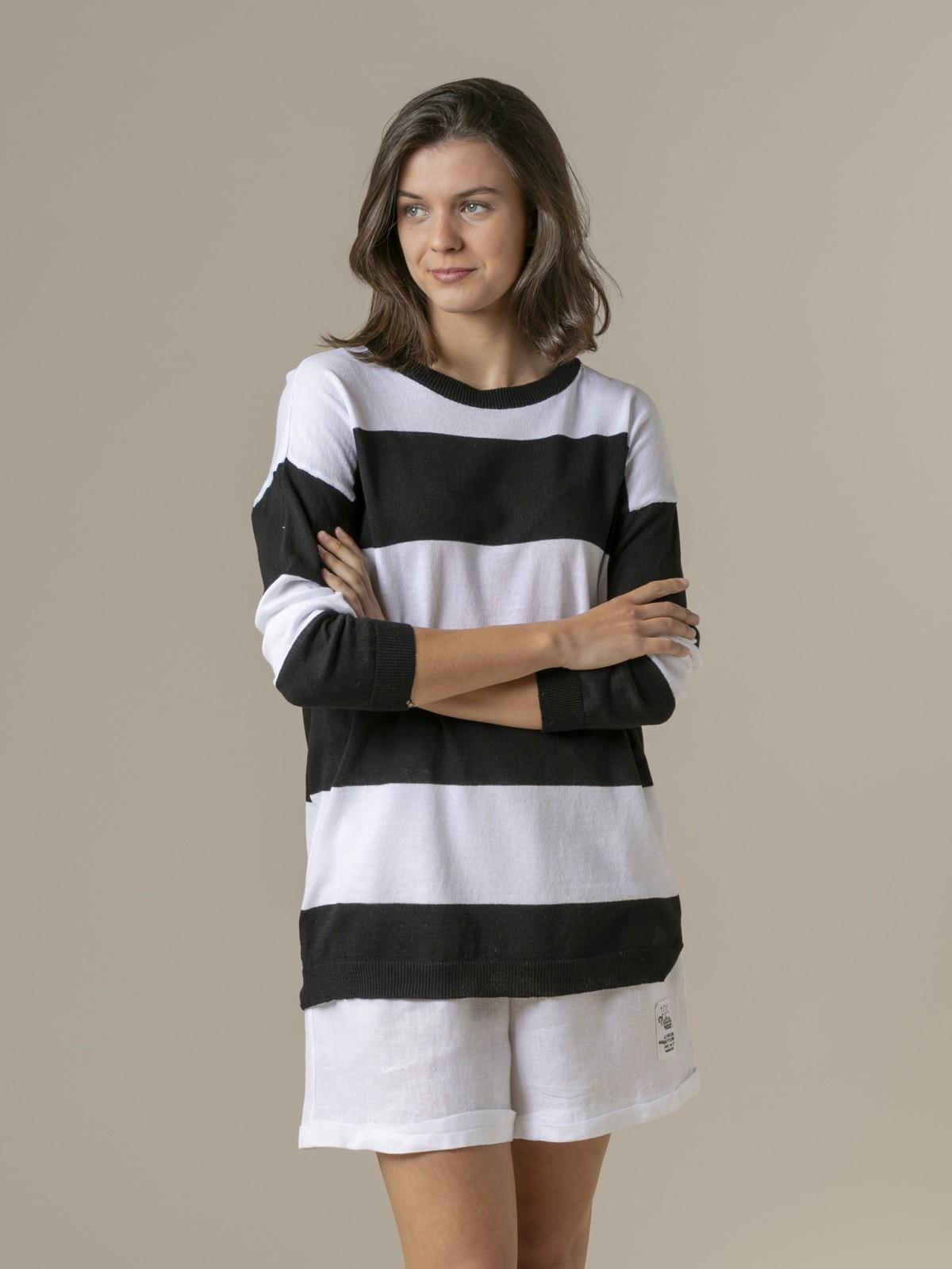 Jersey mujer raya ancha largo Negro