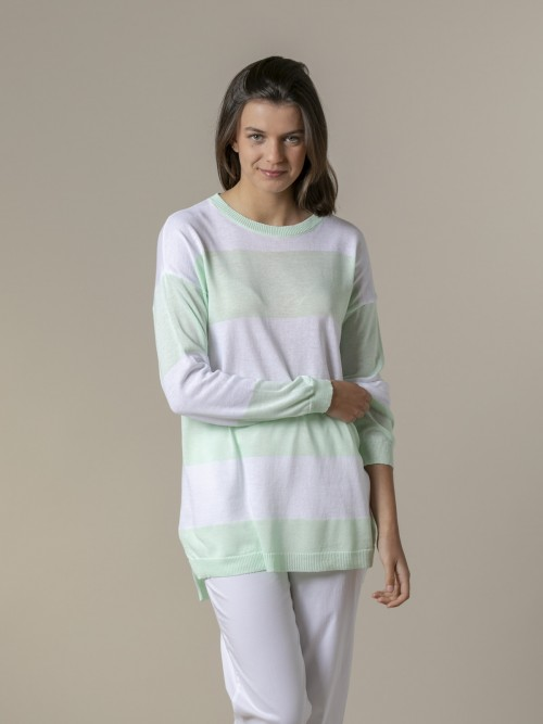 Woman Woman Long wide stripe sweater Green