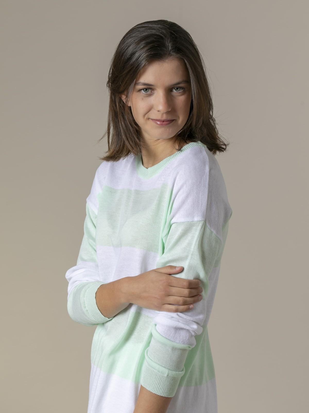 Woman Woman Long wide stripe sweater Green