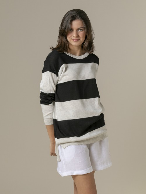 Woman Woman Long wide stripe sweater Grey
