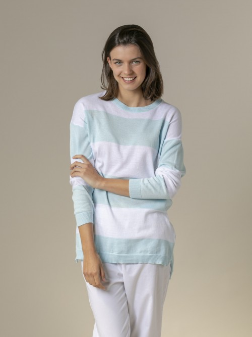 Woman Woman Long wide stripe sweater Blue