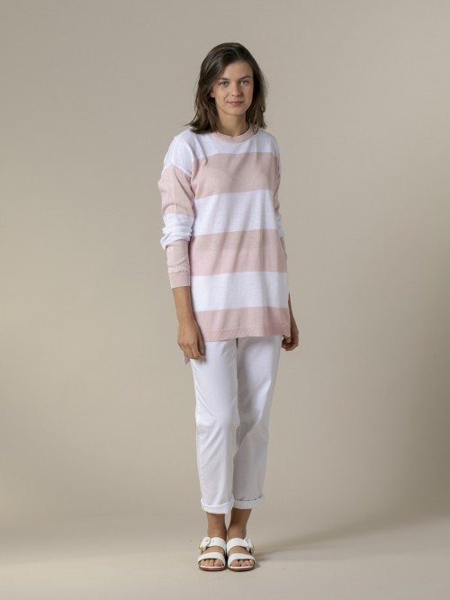 Woman Woman Long wide stripe sweater Pink