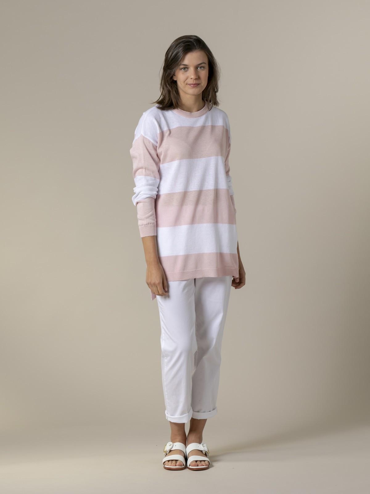 Woman Woman Long wide stripe sweater Pink