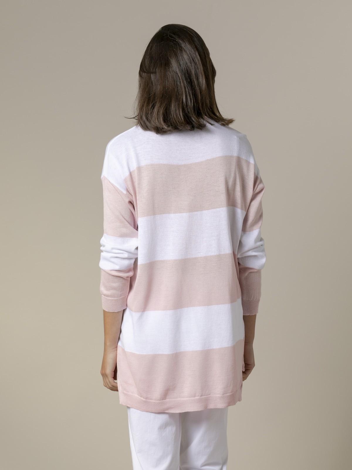 Jersey mujer raya ancha largo Rosa