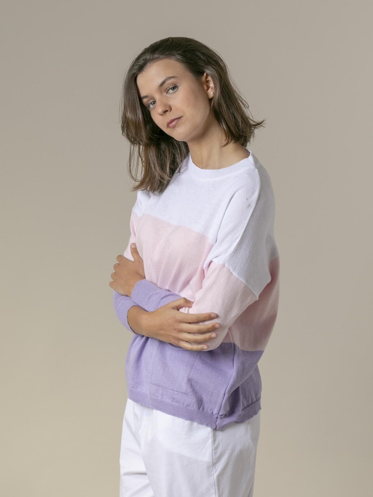 Jersey mujer de punto rayas y bolsillos Blanco