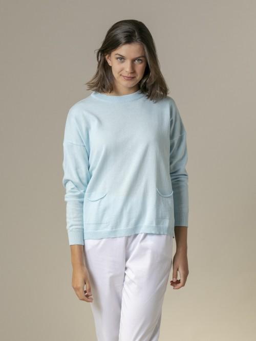 Jersey mujer liso fino con bolsillos Azul