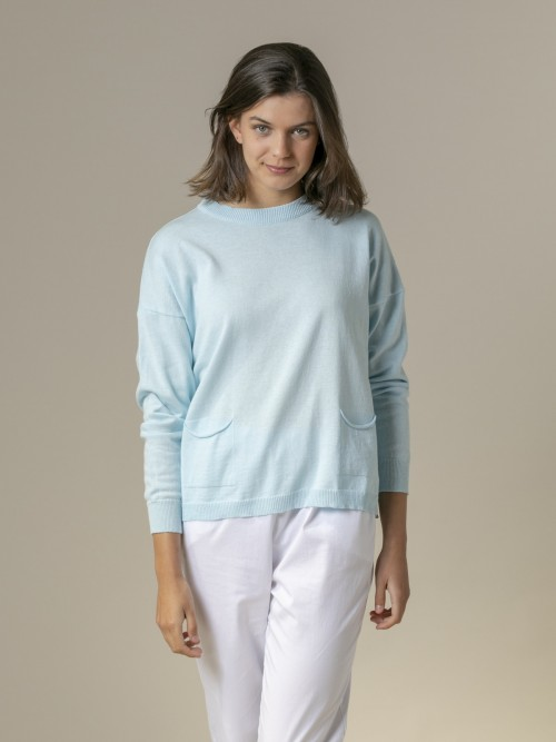 Woman Woman Fine plain sweater with pockets Blue