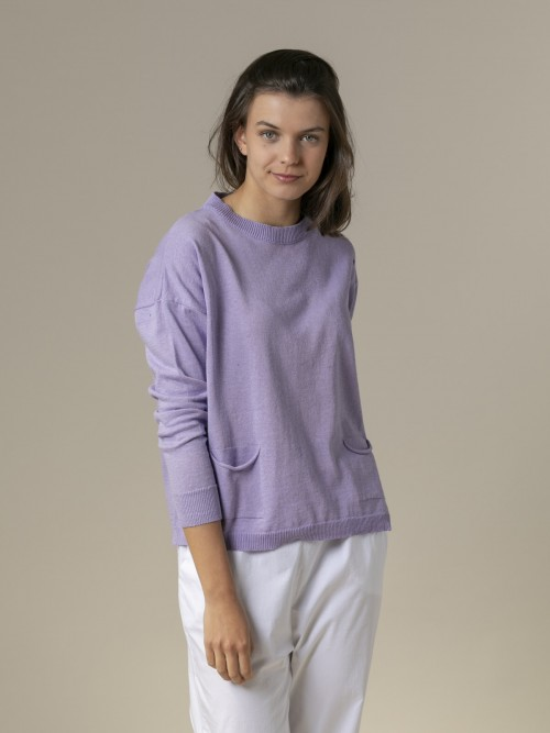 Woman Woman Fine plain sweater with pockets Lila