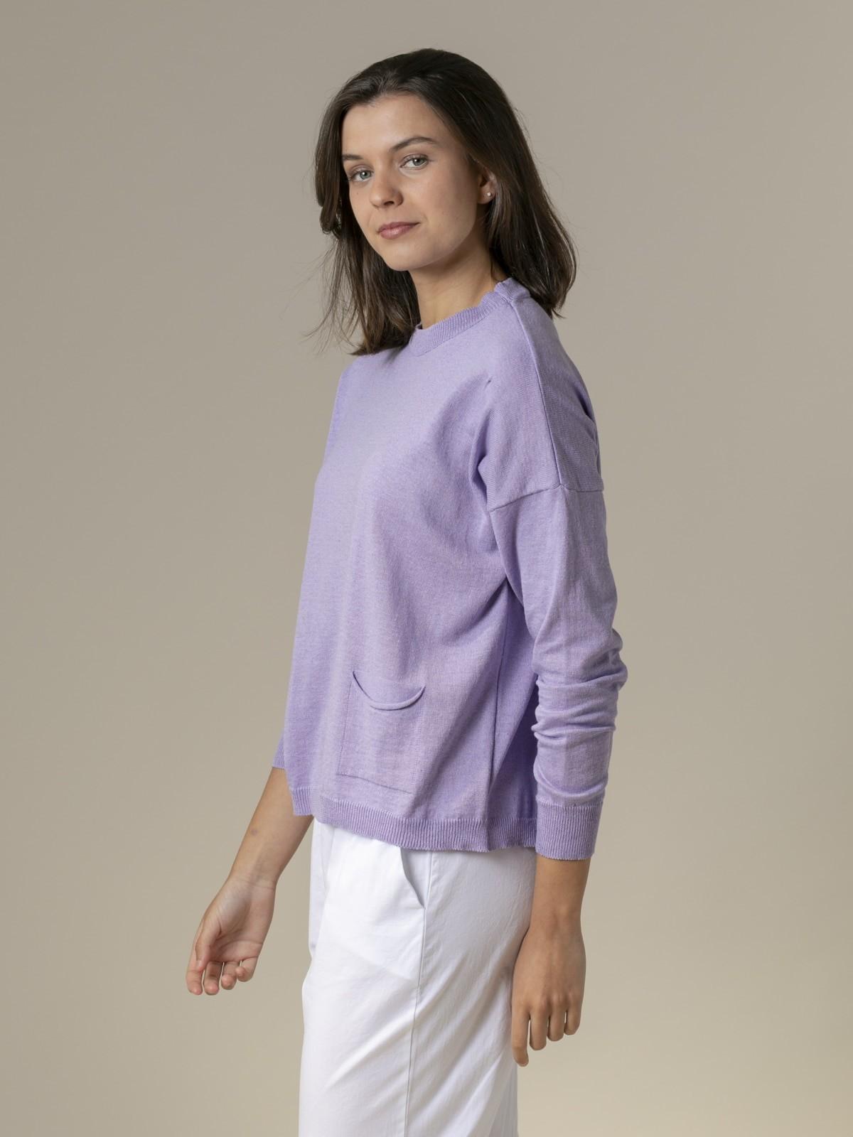 Woman Woman Fine plain sweater with pockets Lila
