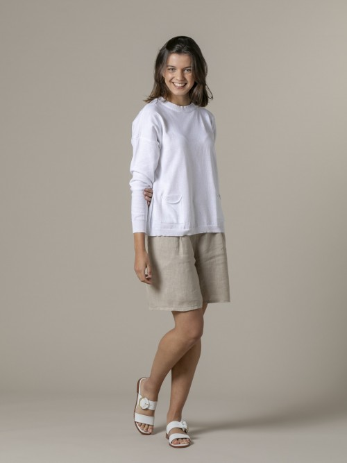 Woman Woman Fine plain sweater with pockets White