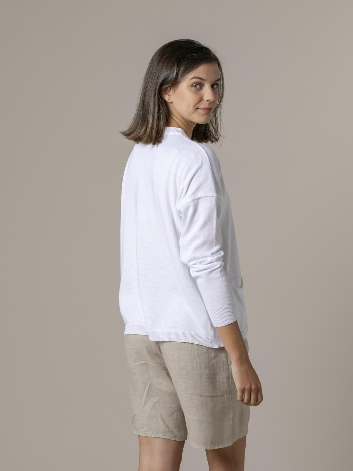 Jersey mujer liso fino con bolsillos Blanco