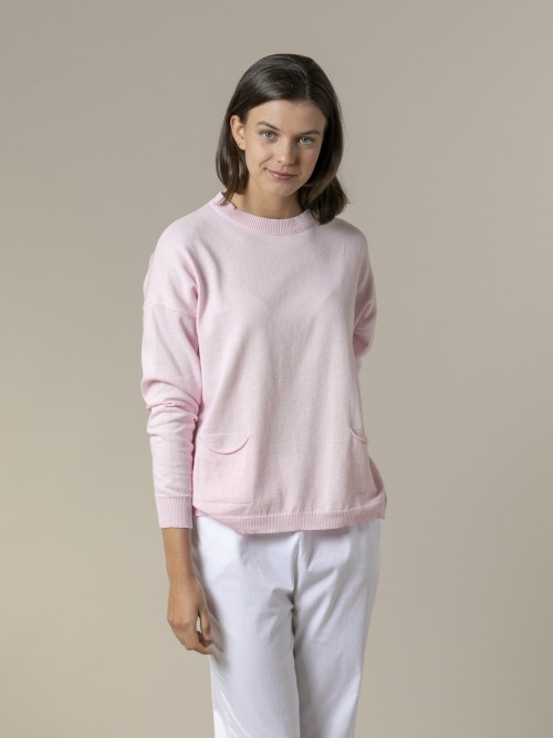 Jersey mujer liso fino con bolsillos Rosa
