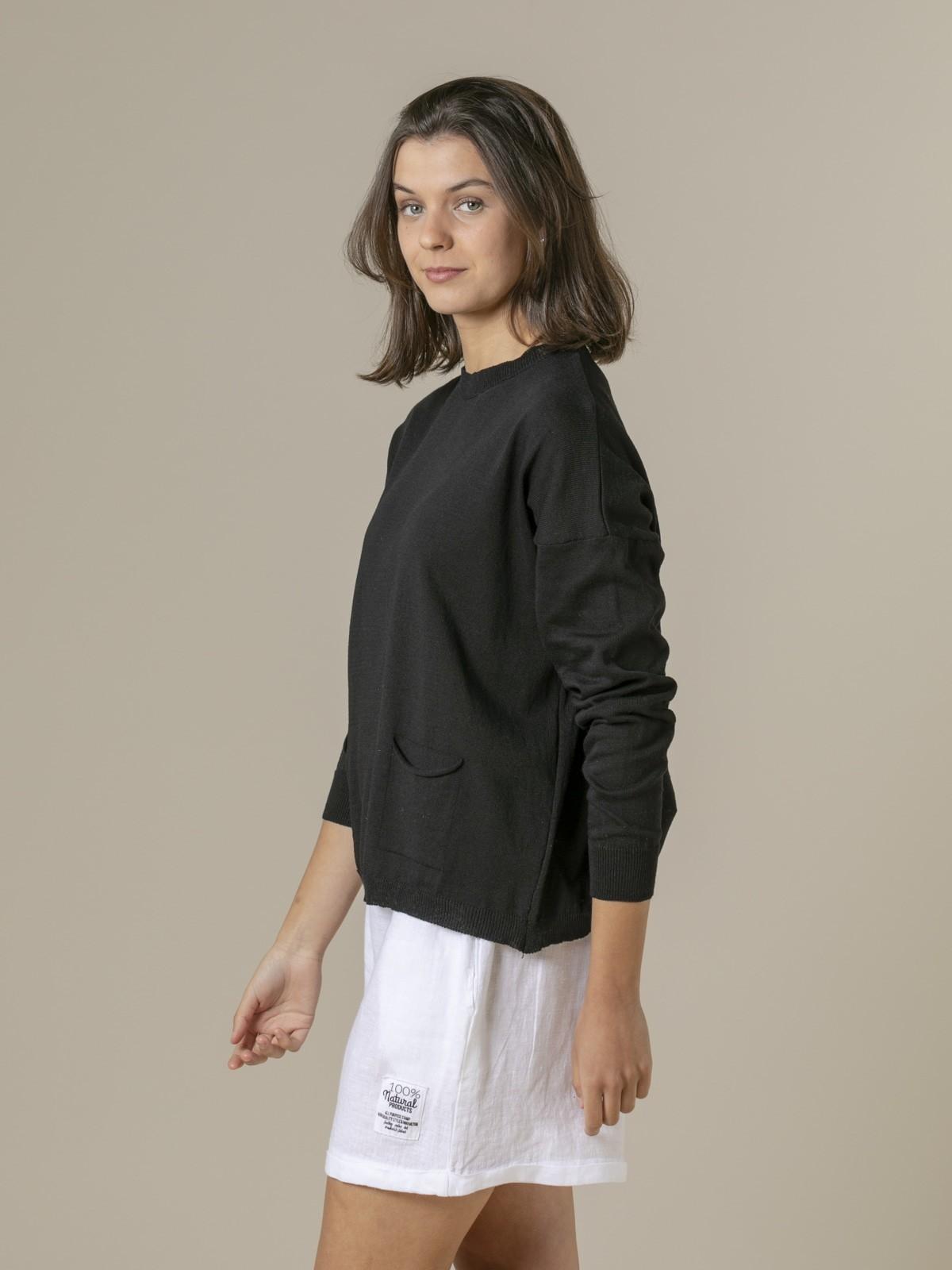 Jersey mujer liso fino con bolsillos Negro
