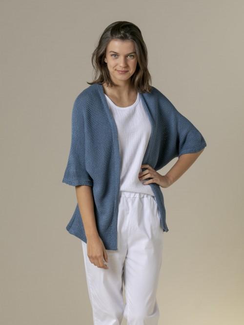 Woman Woman Cotton knit jacket Blue Jean