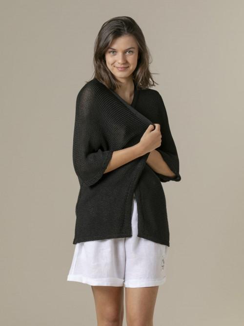Chaqueta mujer punto algodón Negro