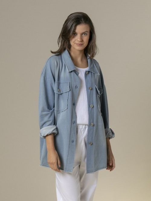 Woman Woman Denim cut canvas jacket Blue Claro