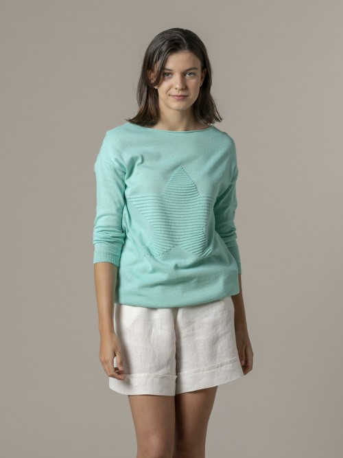 Woman Woman Star print knit sweater Aqua