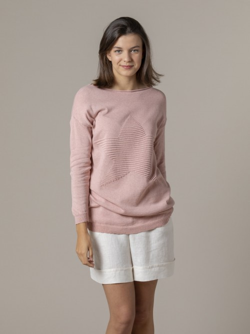 Woman Woman Star print knit sweater Pink
