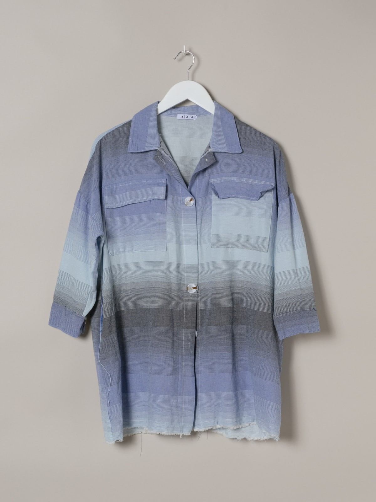 Woman Woman Colorful plaid shirt Blue