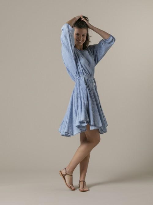 Woman Woman Wrinkled cotton dress eco dye Blue