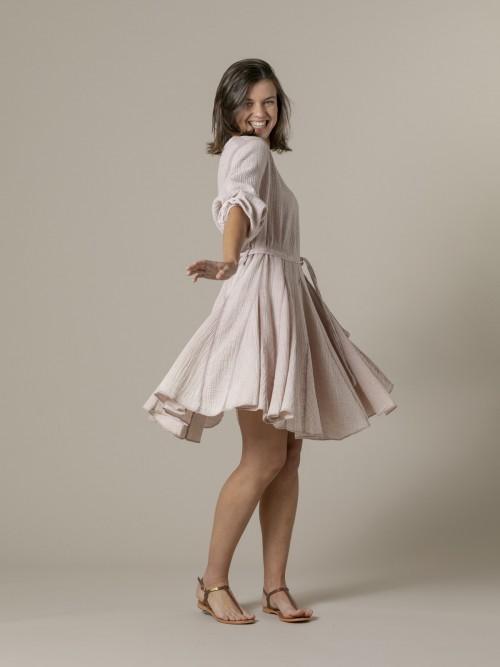 Vestido algodón arrugado tinte eco Rosa