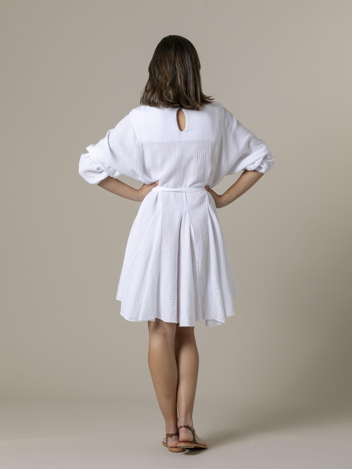 Woman Woman Wrinkled cotton dress eco dye White