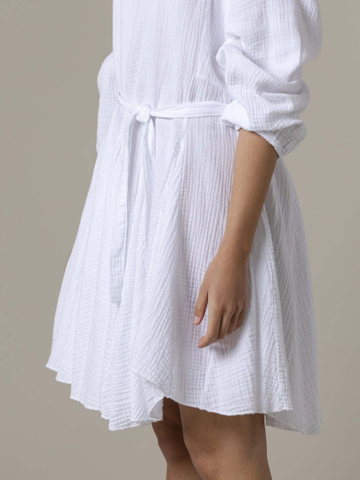 Vestido algodón arrugado tinte eco Blanco