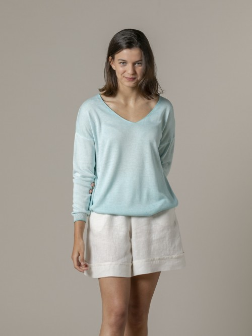 Woman Woman Glitter gradient dye sweater Aqua