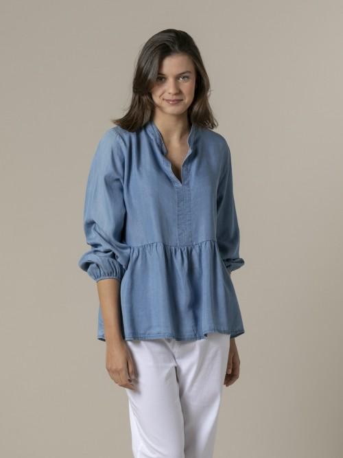 Woman Oversize tencel shirt Blue