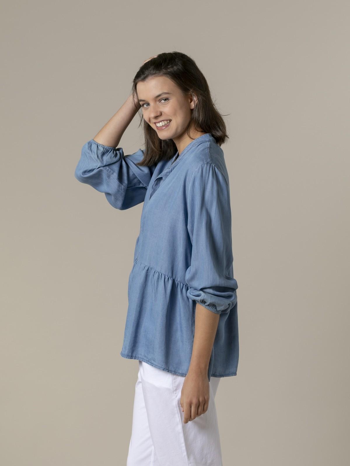Woman Womann Oversize tencel shirt Blue