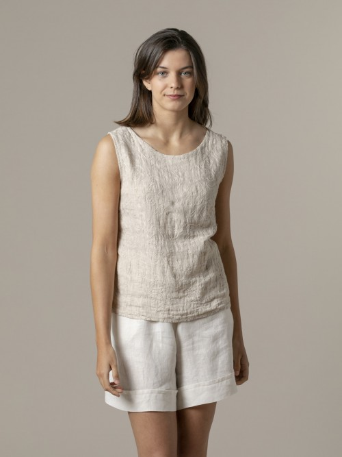 Woman Woman Embroidered linen top Beige