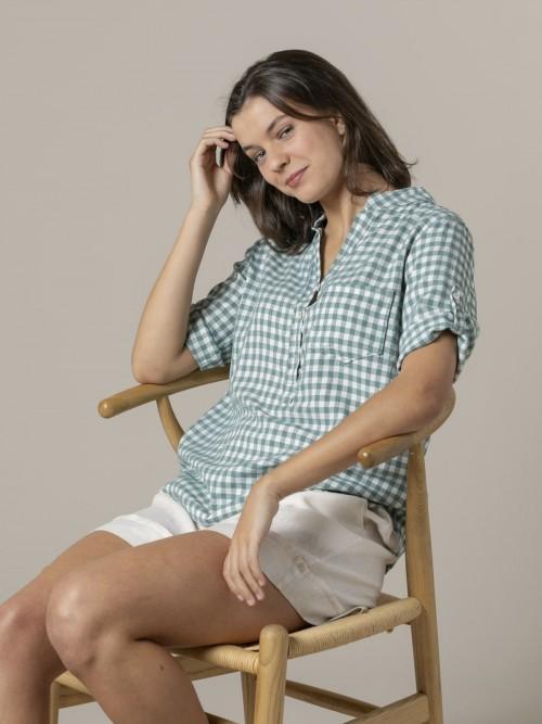 Camisa mujer de cuadros Verde claro
