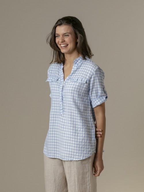 Camisa mujer de cuadros Azul Claro