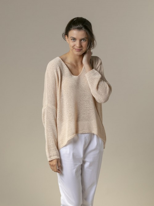 Woman Woman Lightweight ribbon knit sweater Beige