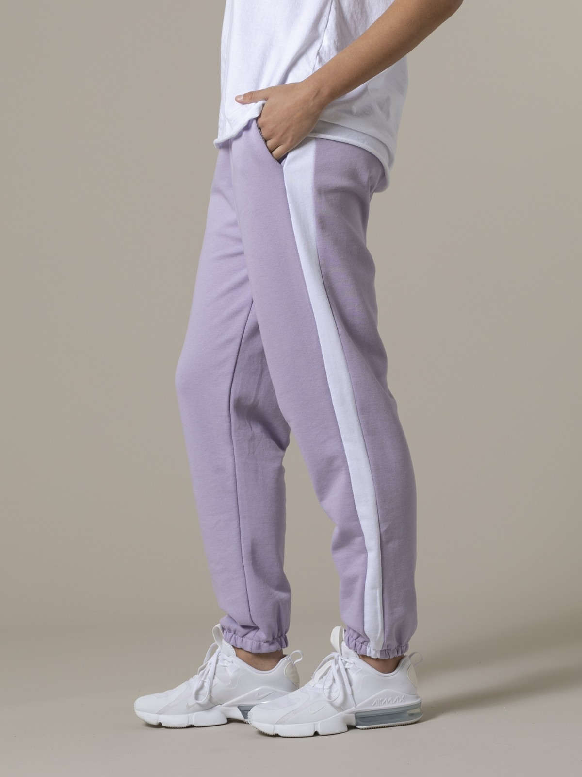 Pantalón sport mujer raya Lila