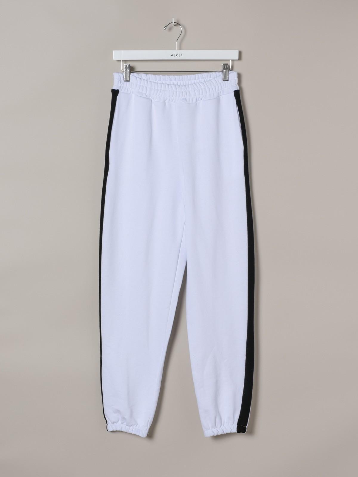 Woman Woman Striped sport pants White