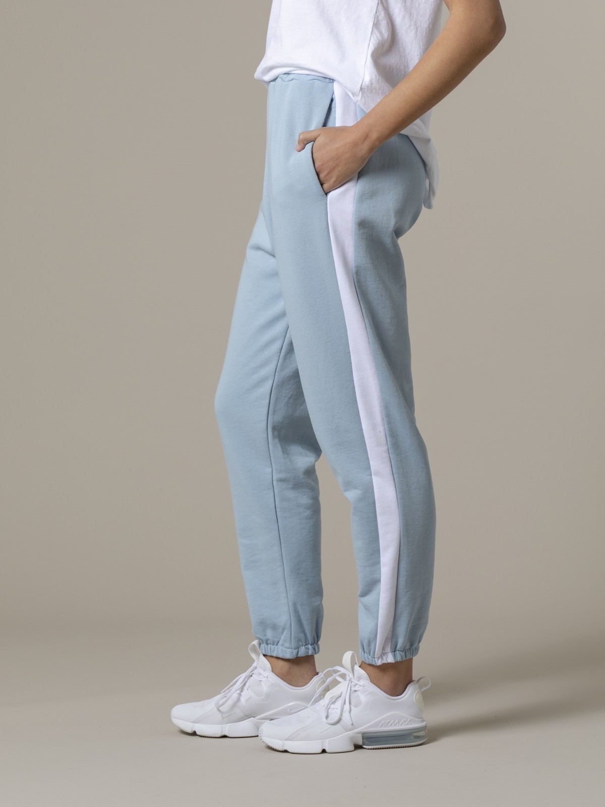 Woman Woman Striped sport pants Blue