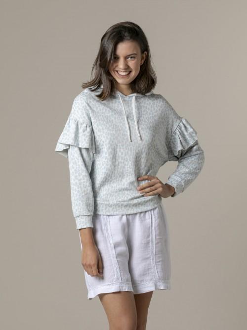 Woman Leopard sweatshirt Blue Claro